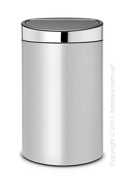 Ведро для мусора Brabantia Touch Bin 40 л, Metallic Grey with Brilliant Steel Lid