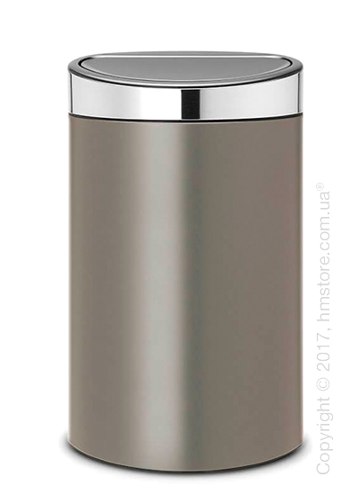 Ведро для мусора Brabantia Touch Bin New 40 л, Platinum with Brilliant Steel Lid
