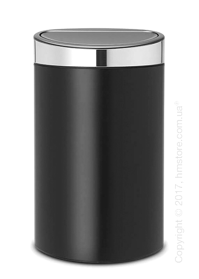 Ведро для мусора Brabantia Touch Bin New 40 л, Matt Black with Brilliant Steel Lid