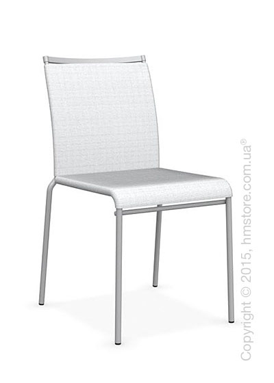Стул Calligaris Web, Stackable metal chair, Metal matt silver, Joy coating optic white and Metal matt silver