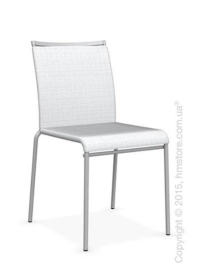Стул Calligaris Web, Stackable metal chair, Metal matt silver, Joy coating optic white and Metal matt silver