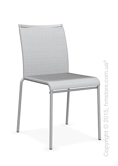 Стул Calligaris Web, Stackable metal chair, Metal matt silver, Joy coating light grey and Metal matt silver