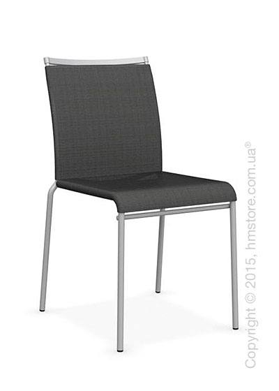 Стул Calligaris Web, Stackable metal chair, Metal matt silver, Joy coating anthracite grey and Metal matt silver