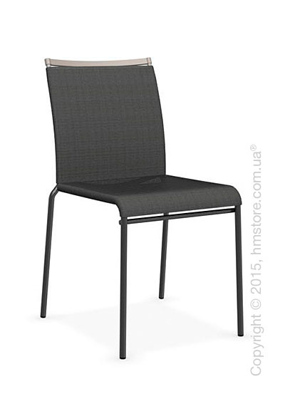 Стул Calligaris Web, Stackable metal chair, Metal matt black, Joy coating anthracite grey and Metal matt taupe