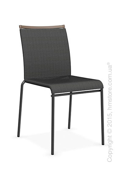 Стул Calligaris Web, Stackable metal chair, Metal matt black, Joy coating anthracite grey and Metal matt nougat