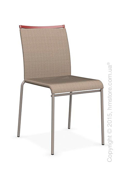 Стул Calligaris Web, Stackable metal chair, Metal matt taupe, Joy coating taupe and Metal matt red