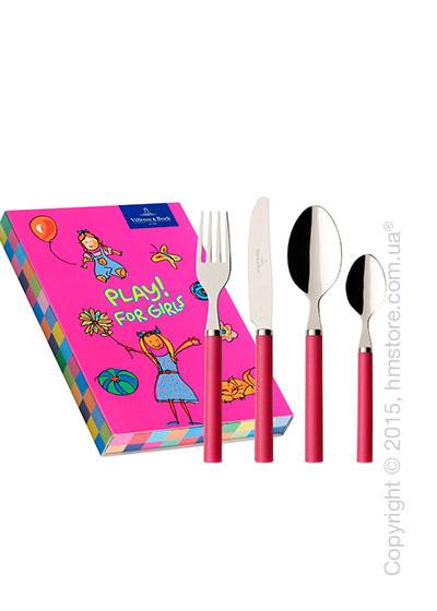 Набор столовых приборов детский Villeroy & Boch коллекция Play! for girls, 4 предмета, Red Roses