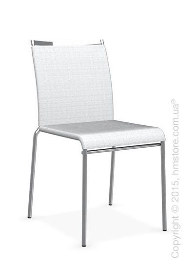 Стул Calligaris Web, Stackable metal chair, Metal chromed, Joy coating optic white and Metal chromed