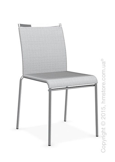 Стул Calligaris Web, Stackable metal chair, Metal chromed, Joy coating light grey and Metal chromed