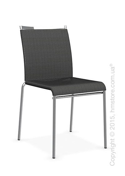 Стул Calligaris Web, Stackable metal chair, Metal chromed, Joy coating anthracite grey and Metal chromed