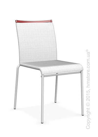 Стул Calligaris Web, Stackable metal chair, Metal optic white, Joy coating optic white and Metal matt red