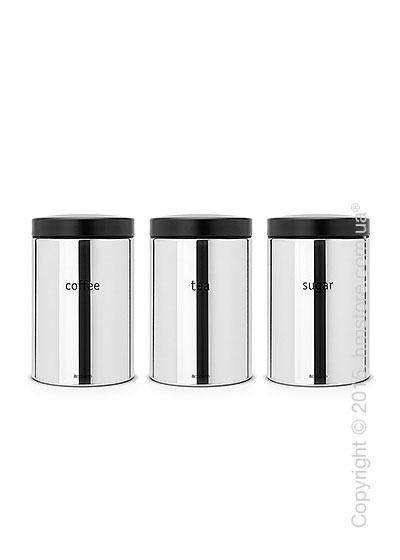 Набор емкостей для хранения сыпучих продуктов Brabantia Canister 1,4 л, Brilliant Steel and Matt Black