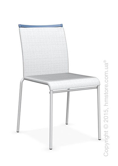 Стул Calligaris Web, Stackable metal chair, Metal matt optic white, Joy coating optic white and Metal sky blue