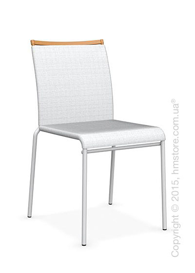 Стул Calligaris Web, Stackable metal chair,  Metal matt optic white, Joy coating optic white and Metal matt mustard yellow