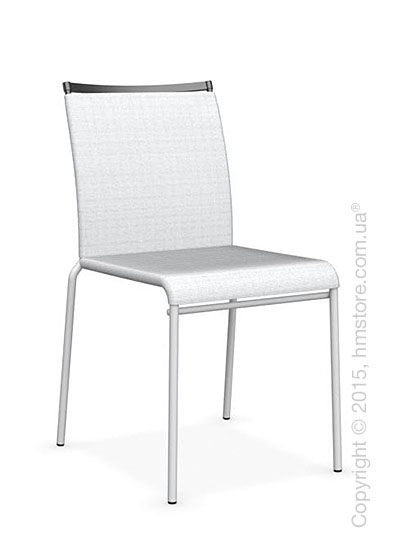 Стул Calligaris Web, Stackable metal chair,  Metal matt optic white, Joy coating optic white and Metal matt black