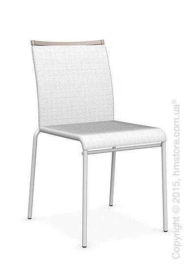 Стул Calligaris Web, Stackable metal chair,  Metal matt optic white, Joy coating optic white and Metal matt taupe