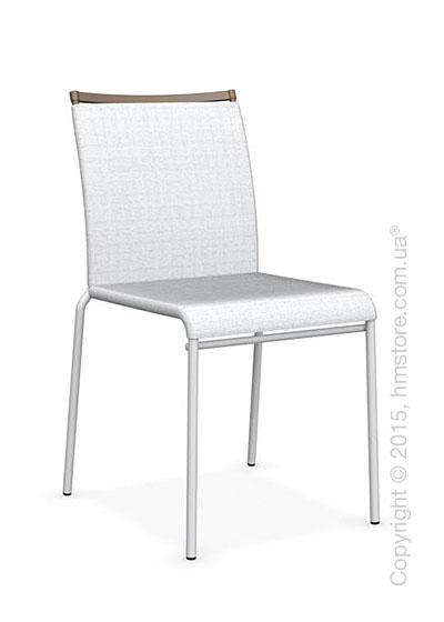 Стул Calligaris Web, Stackable metal chair,  Metal matt optic white, Joy coating optic white and Metal matt nougat