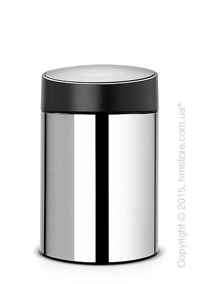 Ведро для мусора Brabantia Slide Bin 5 л, Brilliant Steel with Black Plastic Lid