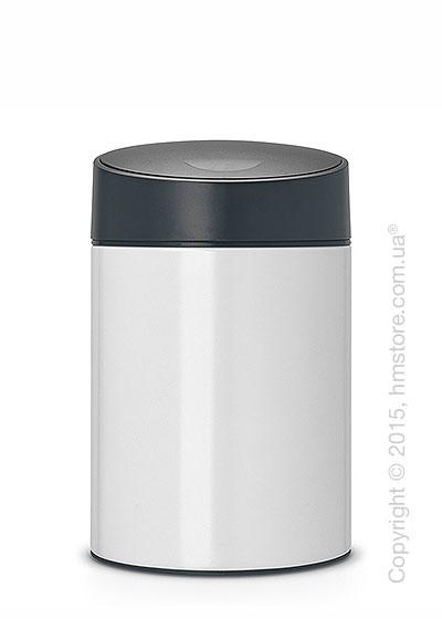 Ведро для мусора Brabantia Slide Bin 5 л, White with Grey Plastic Lid