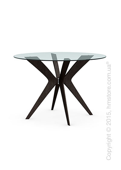Стол Calligaris Tokyo, Glass and wood round table, Tempered glass transparent and Solid wood wenge beech stained
