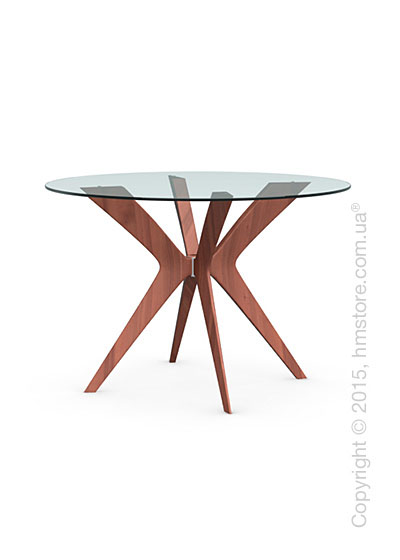 Стол Calligaris Tokyo, Glass and wood round table, Tempered glass transparent and Solid wood walnut beech stained