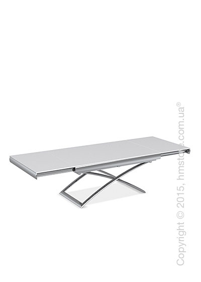 Стол Calligaris Dacota, Extending and folding table, Frosted tempered glass extrawhite and Metal chromed