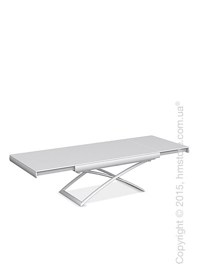 Стол Calligaris Dacota, Extending and folding table, Frosted tempered glass extrawhite and Metal matt optic white