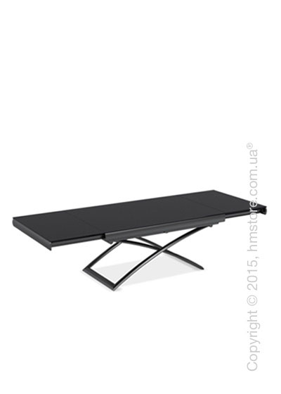 Стол Calligaris Dacota, Extending and folding table, Frosted tempered glass black and Metal matt black