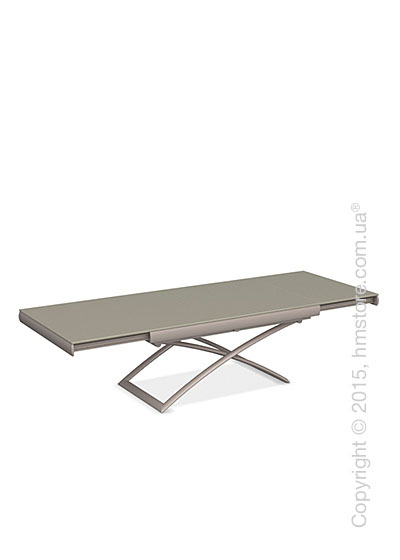 Стол Calligaris Dacota, Extending and folding table, Frosted tempered glass taupe and Metal matt taupe