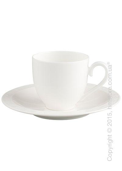 Чашка с блюдцем Villeroy & Boch коллекция White Pearl 100 мл, 2 предмета