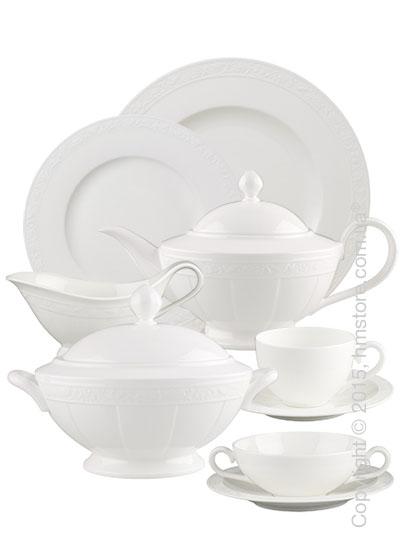 Набор фарфоровой посуды Villeroy & Boch коллекция White Pearl на 6 персон, 50 предметов