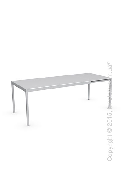 Стол Calligaris Happy M, Glass and metal extending table, Frosted tempered glass extrawhite and Aluminium glossy