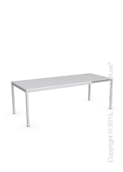 Стол Calligaris Happy M, Glass and metal extending table, Frosted tempered glass extrawhite and Aluminium matt optic white