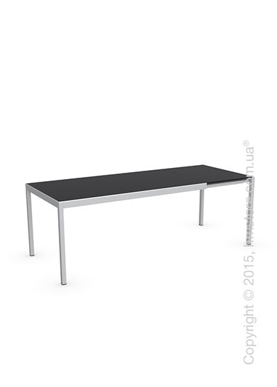 Стол Calligaris Happy M, Glass and metal extending table, Frosted tempered glass black and Aluminium glossy
