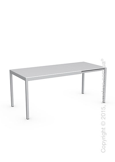 Стол Calligaris Happy S, Glass and metal extending table, Frosted tempered glass extrawhite and Aluminium matt silver