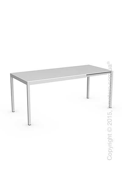 Стол Calligaris Happy S, Glass and metal extending table, Frosted tempered glass extrawhite and Aluminium matt optic white