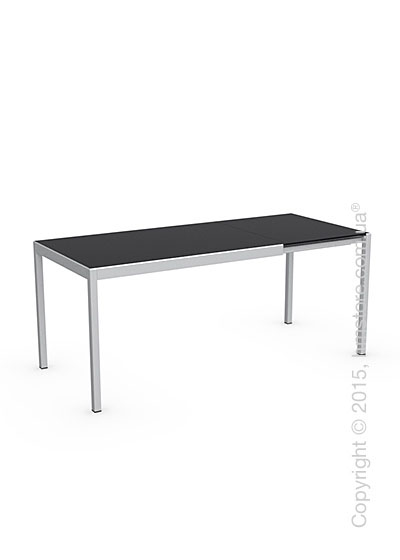 Стол Calligaris Happy S, Glass and metal extending table, Frosted tempered glass black and Aluminium glossy