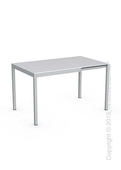 Стол Calligaris Happy, Glass and metal extending table, Frosted tempered glass extrawhite and Aluminium glossy