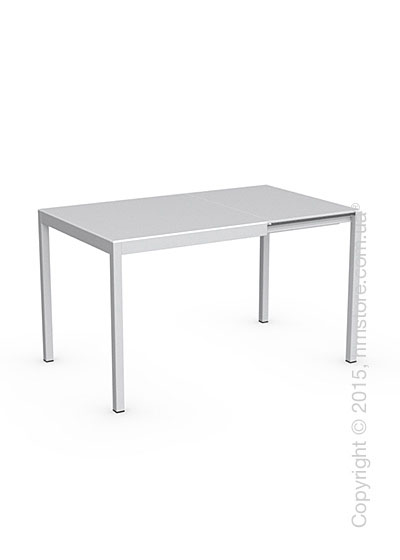 Стол Calligaris Happy, Glass and metal extending table, Frosted tempered glass extrawhite and Aluminium matt optic white