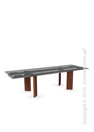 Стол Calligaris Tower Wood, Glass and wood extending table, Frosted tempered glass smoked grey, Metal chromed and Veneer walnut