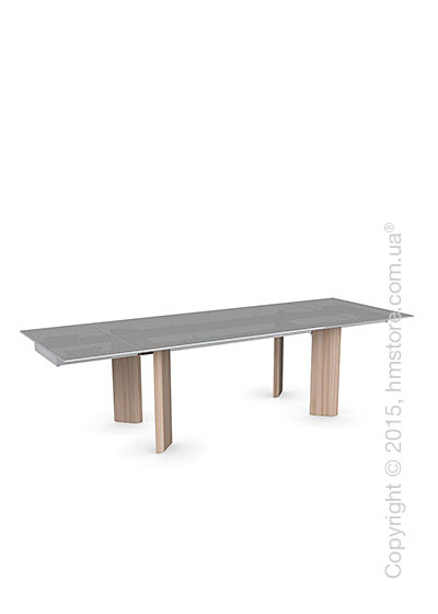 Стол Calligaris Tower Wood, Glass and wood extending table, Frosted tempered glass smoked grey, Metal chromed and Veneer natural