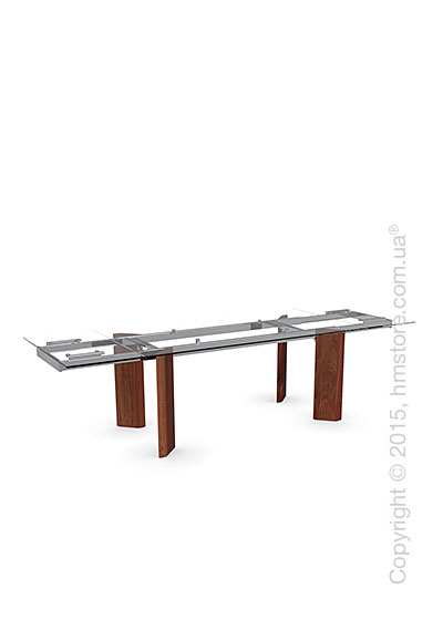 Стол Calligaris Tower Wood, Glass and wood extending table, Tempered glass transparent extraclear, Metal chromed and Veneer walnut