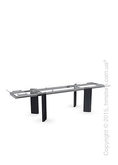 Стол Calligaris Tower Wood, Glass and wood extending table, Tempered glass transparent extraclear, Metal chromed and Veneer graphite