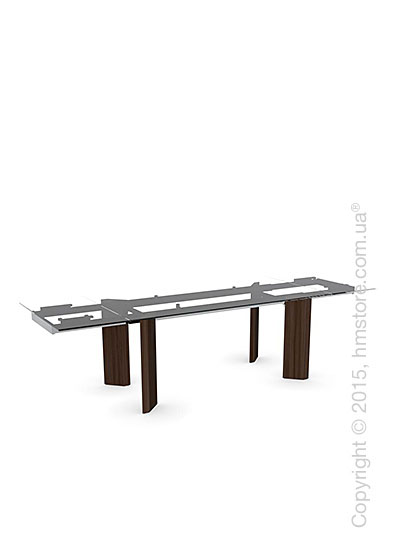 Стол Calligaris Tower Wood, Glass and wood extending table, Tempered glass transparent extraclear, Metal chromed and Veneer smoke