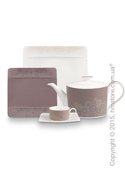 Набор фарфоровой посуды Villeroy & Boch коллекция Modern Grace Grey на 6 персон, 49 предметов