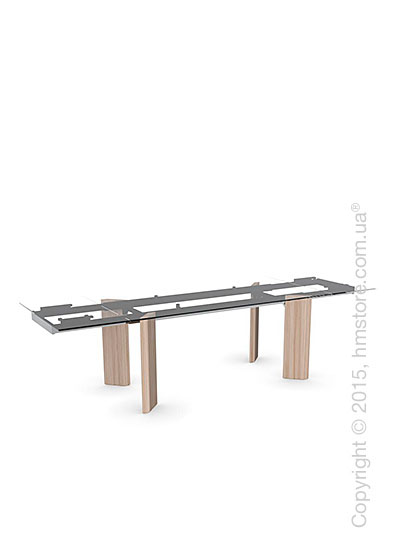 Стол Calligaris Tower Wood, Glass and wood extending table, Tempered glass transparent extraclear, Metal chromed and Veneer natural