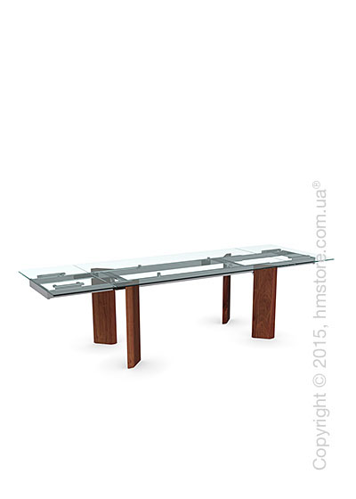 Стол Calligaris Tower Wood, Glass and wood extending table, Tempered glass transparent, Metal chromed and Veneer walnut
