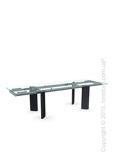 Стол Calligaris Tower Wood, Glass and wood extending table, Tempered glass transparent, Metal chromed and Veneer graphite