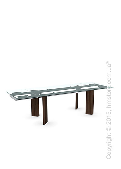 Стол Calligaris Tower Wood, Glass and wood extending table, Tempered glass transparent, Metal chromed and Veneer smoke