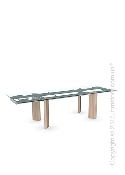 Стол Calligaris Tower Wood, Glass and wood extending table, Tempered glass transparent, Metal chromed and Veneer natural